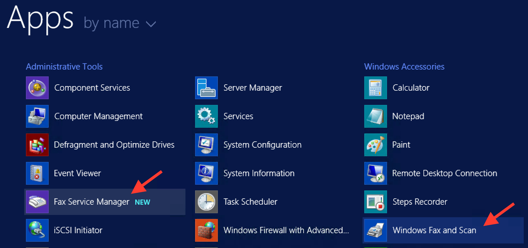 """The """"Fax Service Manager"""" and """"Windows Fax and Scan"""" applications"""