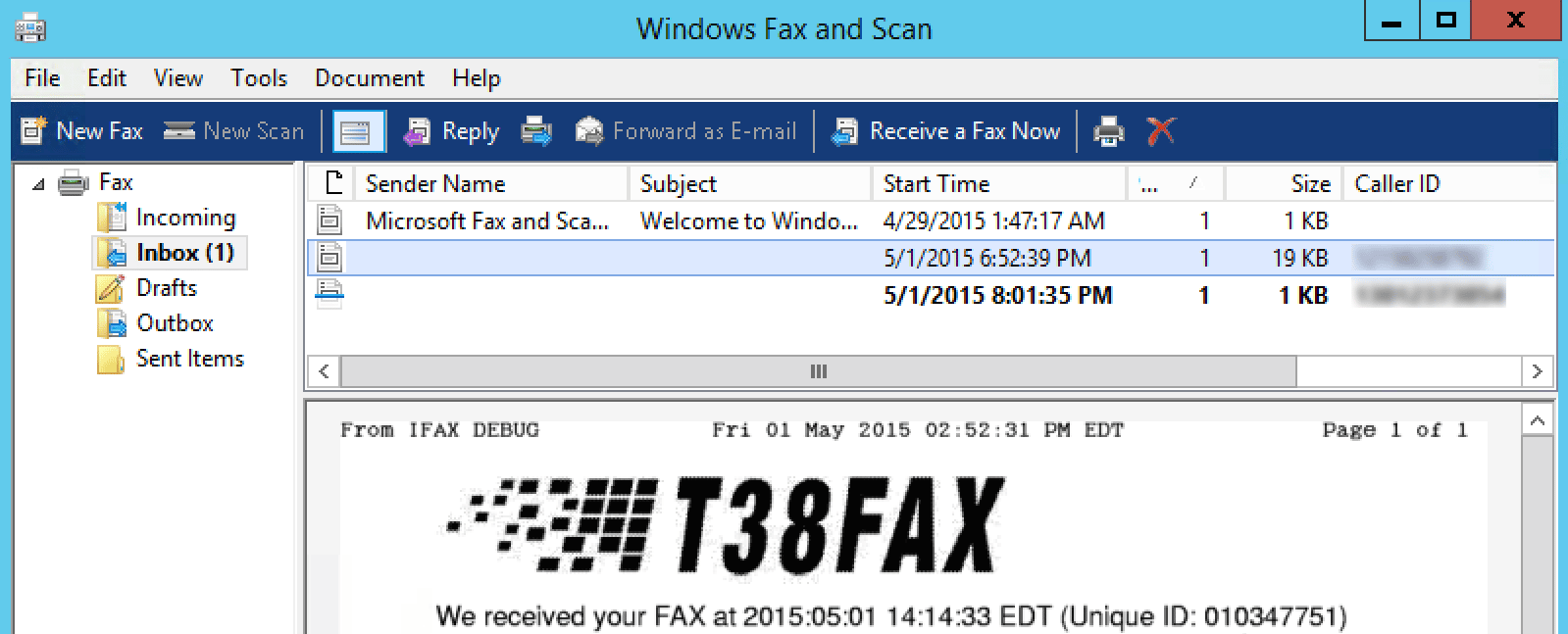 View your sent and received faxes in Windows Fax and Scan