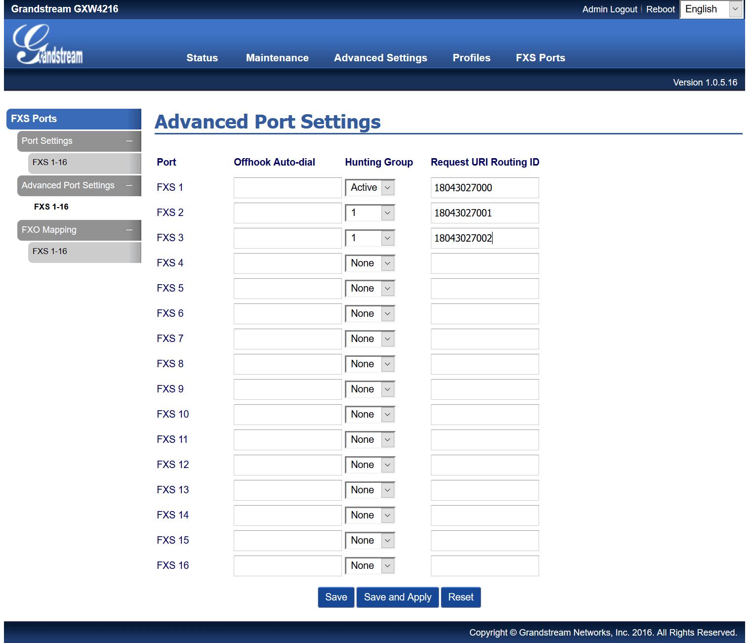 Grandstream GXW4200 - FXS Ports - Advanced Port Settings