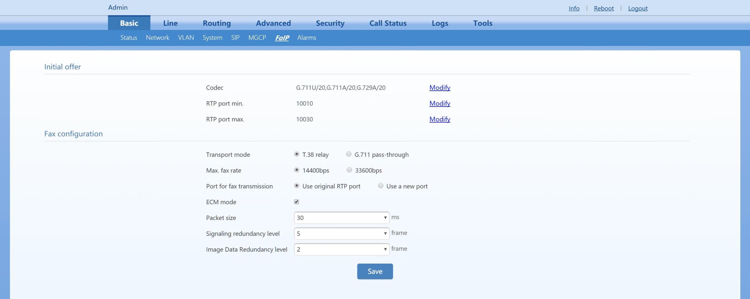 Netgen Basic FoIP Configuration